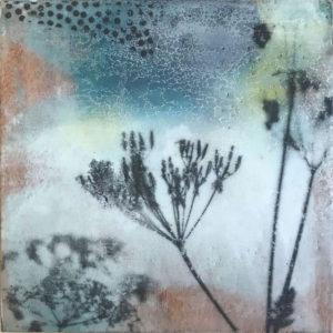 Encaustique sur bois, format 10 x 10 cm, couleur, série Tiny color 1